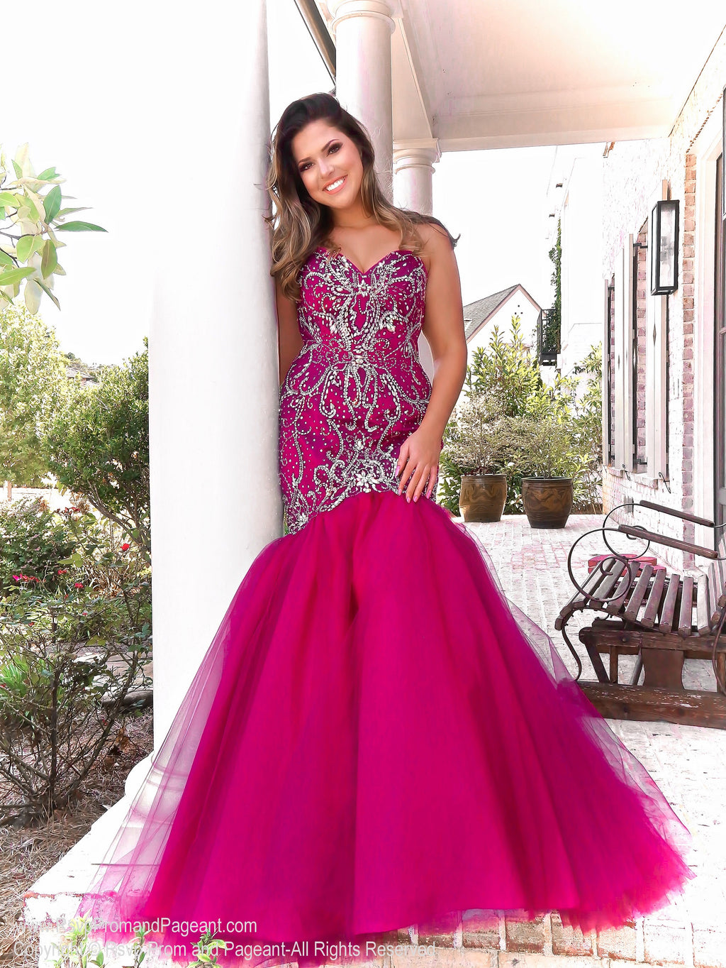 Model in glamorous fully beaded strapless mermaid dress! And it's at Rsvp Prom and Pageant, your source for the HOTTEST Prom and Pageant Dresses and exclusive evening gowns and located in Atlanta, Georgia!