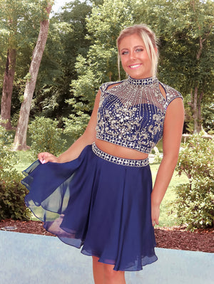 Beautifully Embellished Navy Two Piece Homecoming Dress
