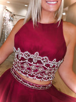 "Burgundy Two Piece Chiffon Short Dress - USE ""OMG50"" FOR AN ADDITIONAL 50% OFF"
