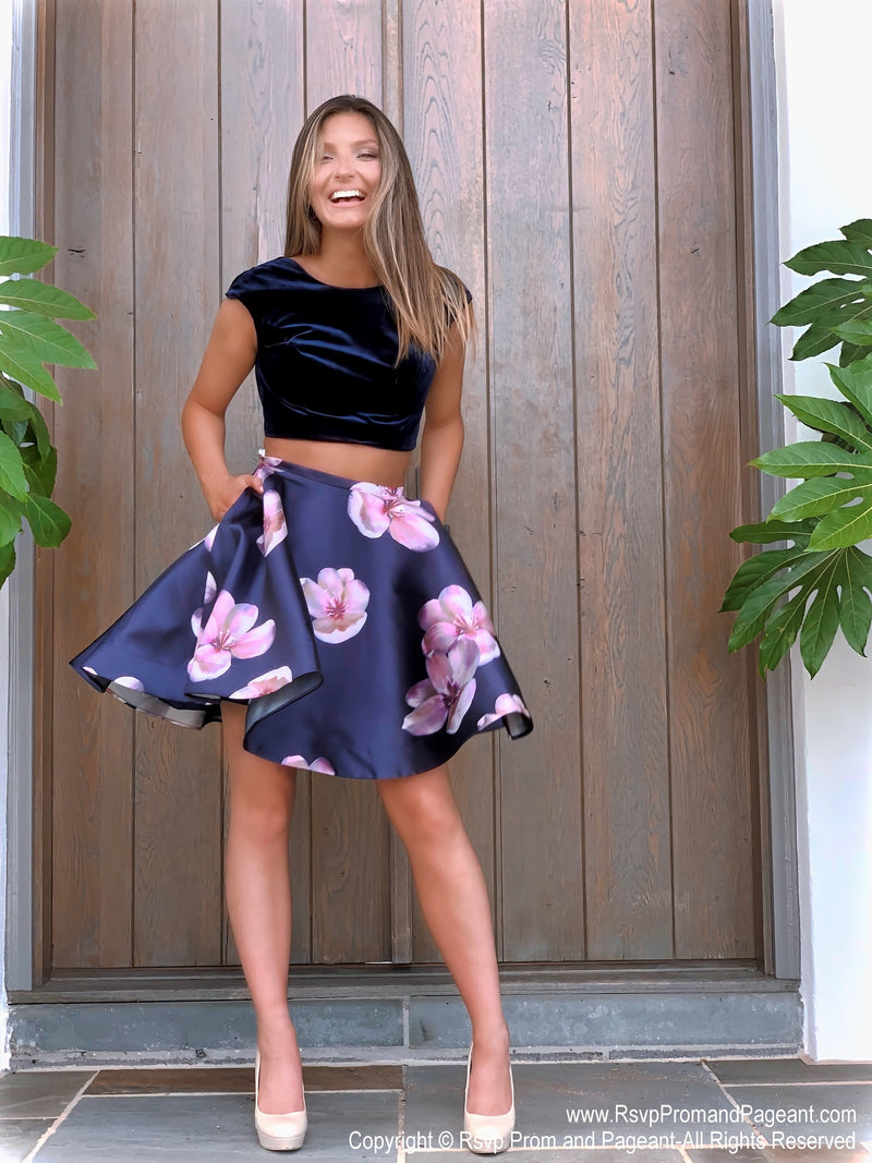 Stunning Black/Navy Floral Velvet Top Two Piece Homecoming Dress at Rsvp Prom and Pageant, best prom dress store, Atlanta, GA