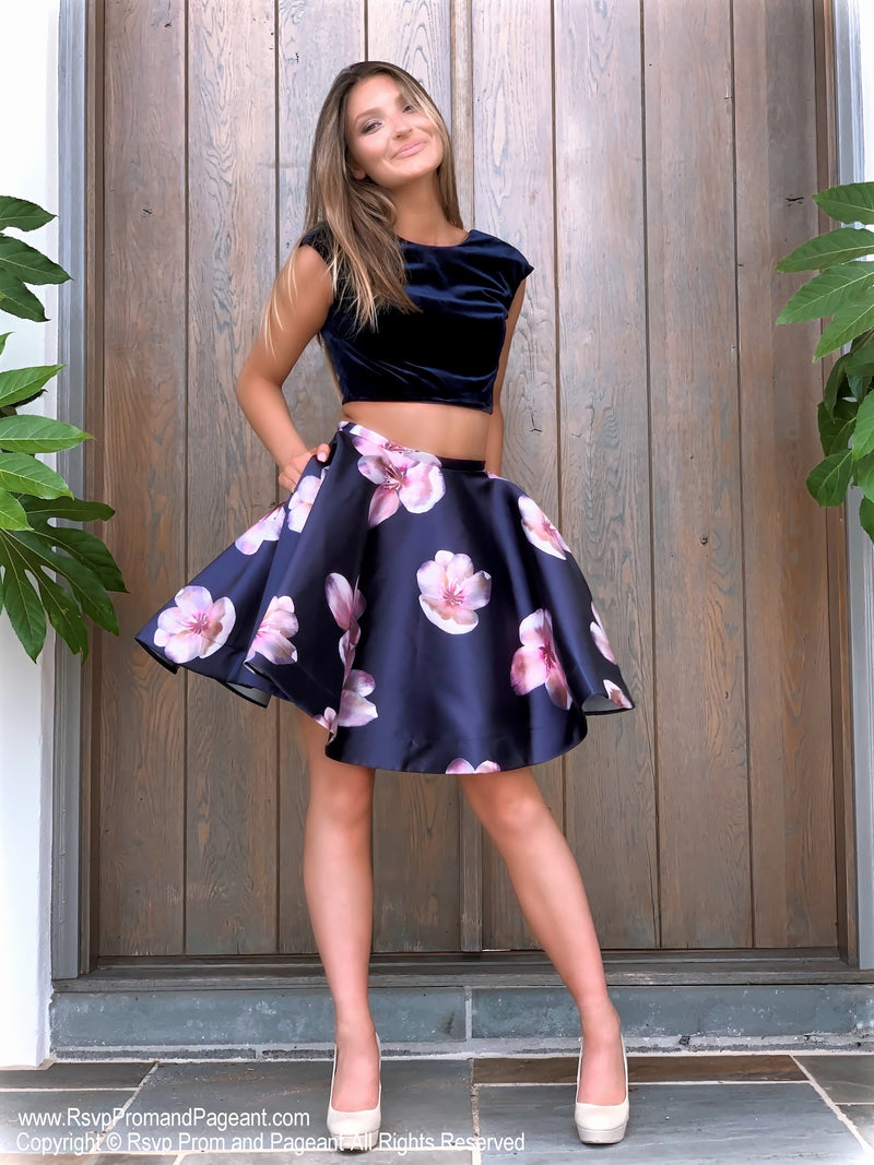 Pretty Black/Navy Floral Velvet Top Two Piece Homecoming Dress at Rsvp Prom and Pageant, best prom dress store, Atlanta, GA