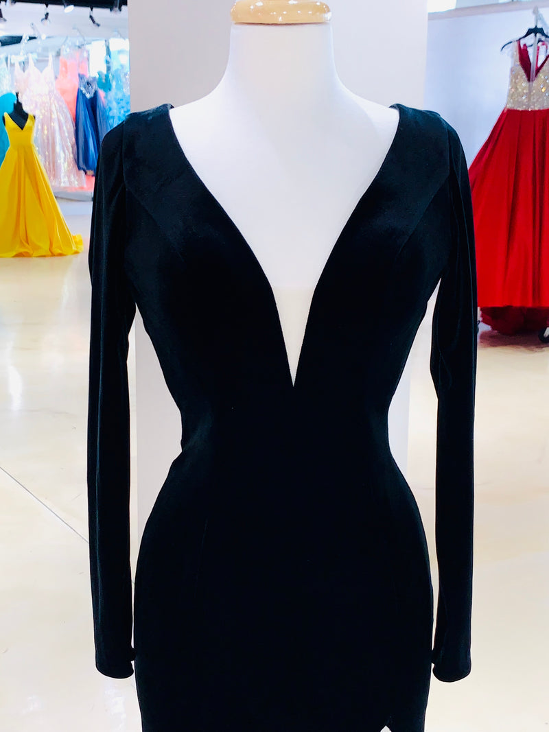 Black Long Sleeve Velvet Gown High Slit, Open Back and Long Train