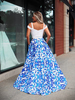 White/Royal Sweetheart Neckline Cold Shoulder Two Piece Ball Gown Prom Dress
