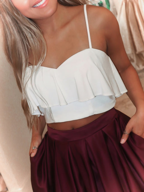 White/Burgundy Two Piece Ball Gown with Pockets Prom Dress