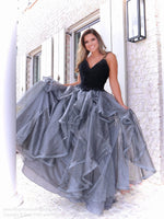 Model in this fabulous black ball gown that features a sweetheart neckline and ruffles all over the silver full skirt! And it's at Rsvp Prom and Pageant, your source for the HOTTEST Prom and Pageant Dresses, located in Atlanta, Georgia!
