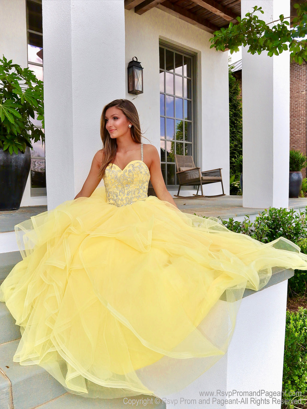Yellow Sweetheart Lace-Up Pageant Gown 119CL0198860 at Rsvp Prom and Pageant, the largest prom and pageant brand also known as Promheaven, Atlanta, Georgia
