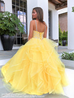 Bacck of Yellow Sweetheart Lace-Up Pageant Gown 119CL0198860 at Rsvp Prom and Pageant, the largest prom and pageant brand also known as Promheaven, Atlanta, Georgia