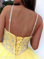 Lace-up back of Yellow Sweetheart Lace-Up Pageant Gown 119CL0198860 at Rsvp Prom and Pageant, the largest prom and pageant brand also known as Promheaven, Atlanta, Georgia