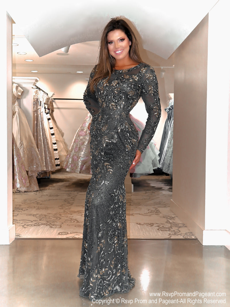Model in this beautiful long sleeved sequin Prom Dress. And it's at RSVP Prom and Pageant, your source for the HOTTEST Prom and Pageant Dresses and Exclusive Evening Gowns and located in Atlanta, Georgia!