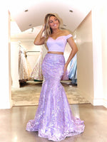 Model in this Lilac, two-piece, sweetheart, off the shoulder Prom Dress which is a MUST-HAVE! And its at RSVP Prom and Pageant, your source for the HOTTEST Prom and Pageant Dresses and Exclusive Evening Gowns and located in Atlanta, Georgia!