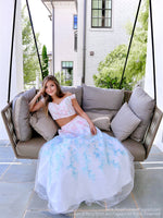 Model on a swing in a gorgeous two piece prom dress features off the shoulder straps, a sweetheart neckline and a full A-line skirt! And it's at Rsvp Prom and Pageant, your source for the HOTTEST Prom and Pageant Dresses and exclusive evening gowns and located in Atlanta, Georgia!