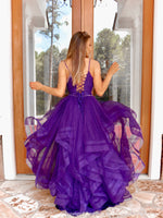 Back of model this stunning and unique purple ball gown with sparkling embellishments all over and a lace-up back for easy up or downsizing. And its available at RSVP Prom and Pageant, your source for the HOTTEST Prom and Pageant Dresses and exclusive evening gowns and located in Atlanta, Georgia!