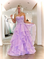 Lilac Lace Sweetheart Strapless Ruffle Prom Dress
