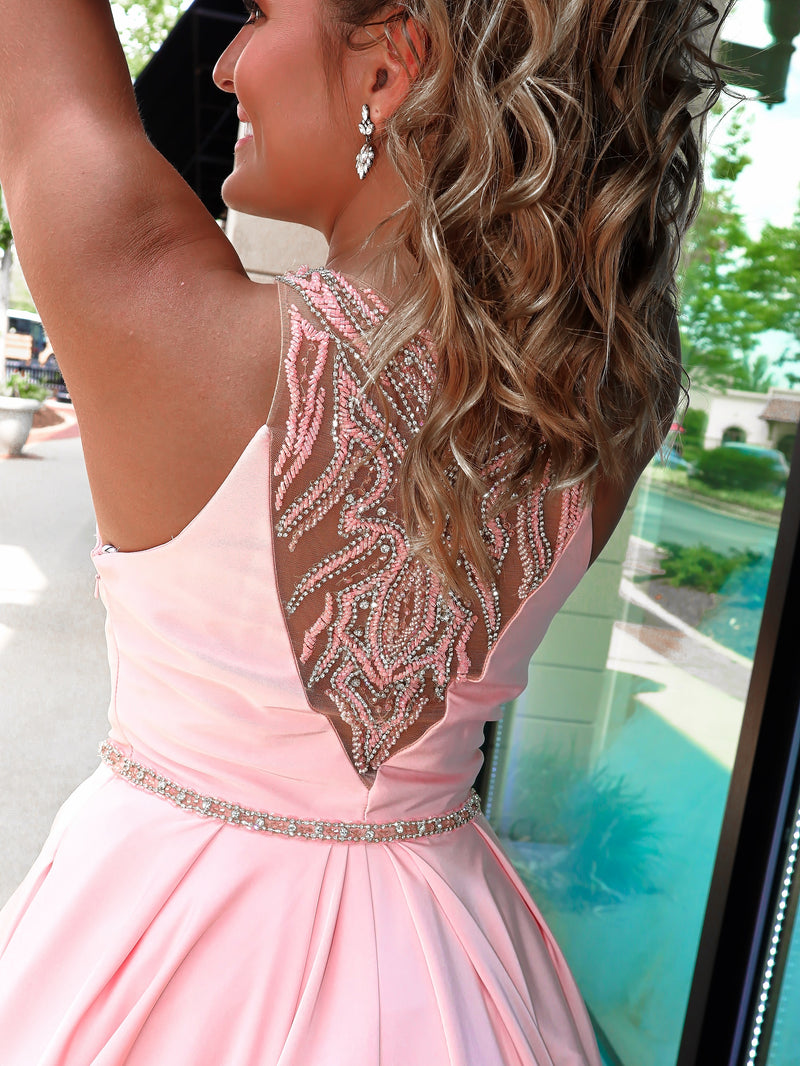 Light Pink High Neckline Ball Gown Prom Dress