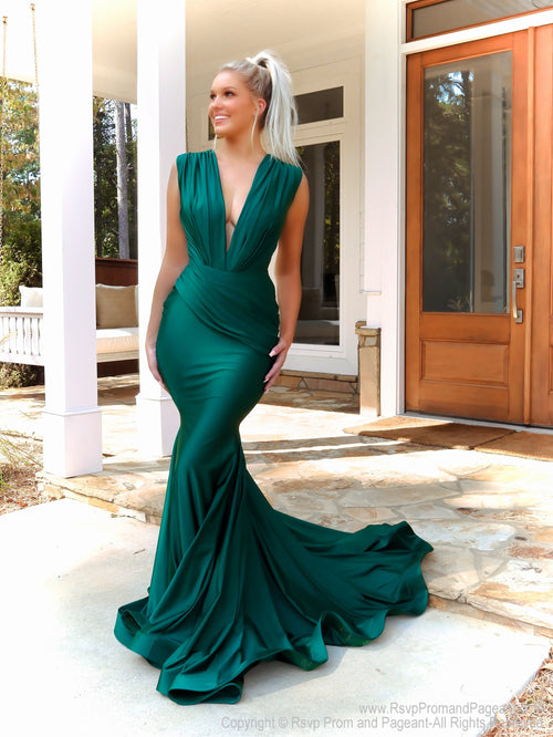 Model in this stunning plunging neck-line, fit and flare, Hunter Prom Dress! And its at RSVP Prom and Pageant, your source for the HOTTEST Prom and Pageant Dresses, located in Atlanta, Georgia!