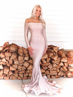 Beautiful model in this STUNNING Blush, long sleeve, off the shoulder, fit and flare Prom dress or evening gown! And its at RSVP Prom and Pageant, your source for the HOTTEST Prom and Pageant Dresses and exclusive evening gowns and located in Atlanta, Georgia!