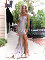 Model looking edgy in this sexy, fitted, Blush, one shoulder, fitted Prom Dress with a high slit. And its at RSVP Prom and Pageant, your source for the HOTTEST Prom and Pageant Dresses and exclusive evening gowns and located in Atlanta, Georgia!