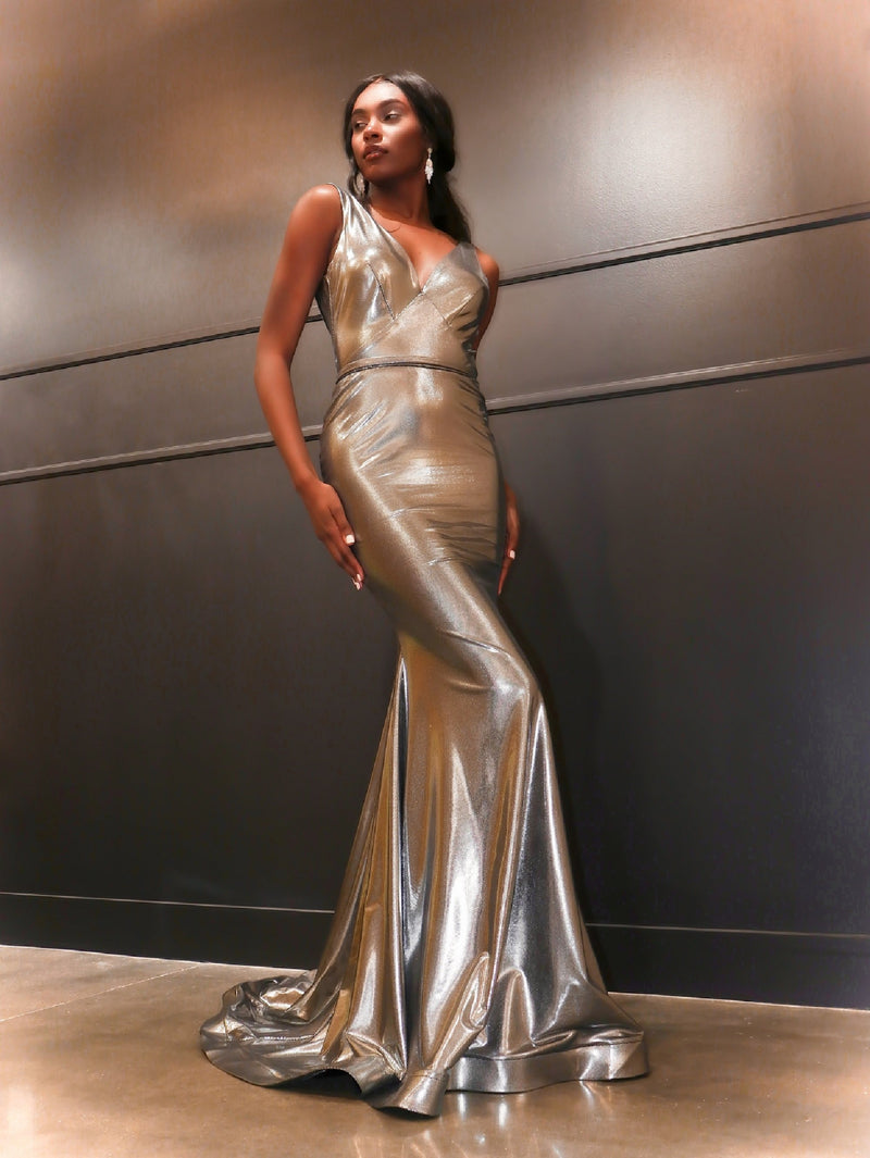 Model in this sexy Silver fit and flare evening gown!  And its at RSVP Prom and Pageant, your source for the HOTTEST Prom and Pageant Dresses and exclusive evening gowns and located in Atlanta, Georgia.