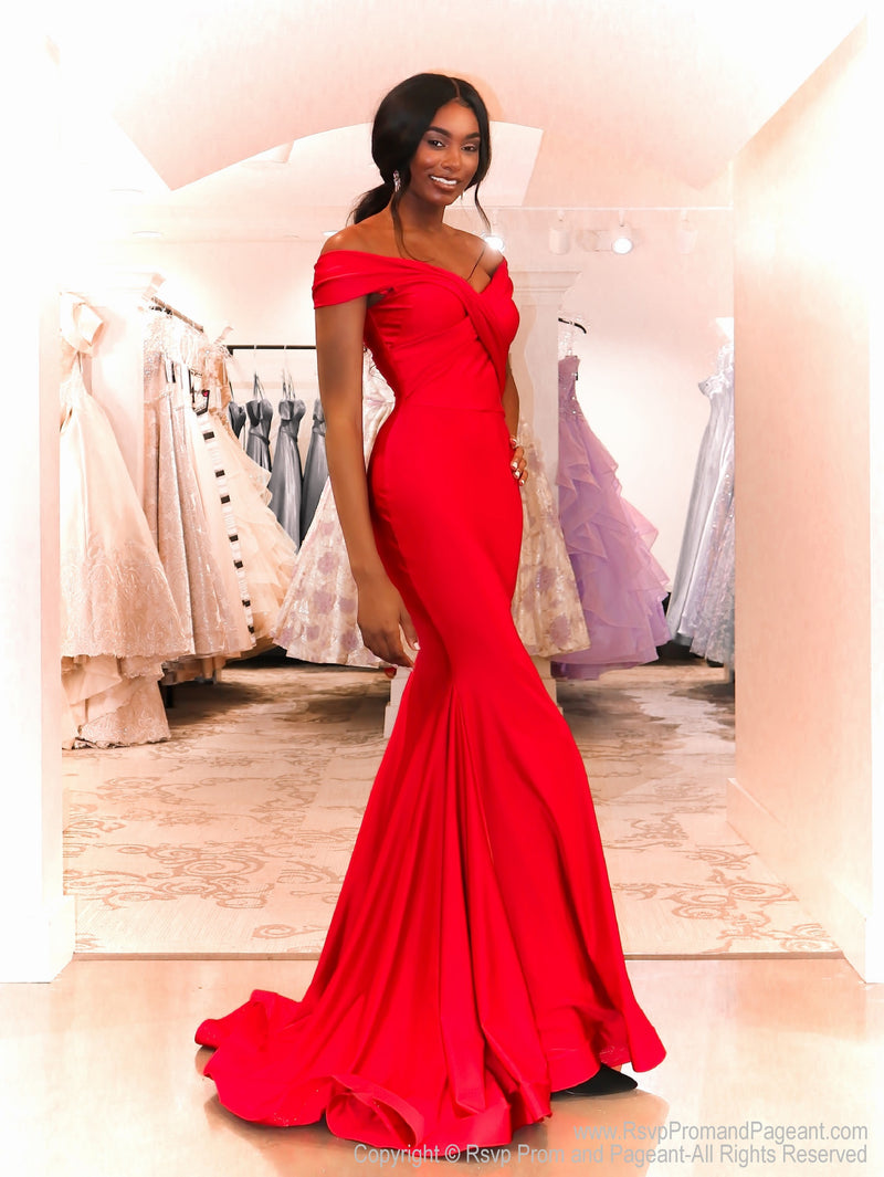 African American model in this fit and flare off the shoulder red evening gown! And it's at Rsvp Prom and Pageant, your source for the HOTTEST prom and pageant dresses and exclusive evening gowns and located in Atlanta Georgia!