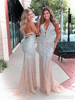 Talk about a show stopper!! No doubt, you will wow the crowd in this gorgeous evening fully detailed with iridescent stones! It also features a low cut back and a halter neckline! And it's at Rsvp Prom and Pageant, your source for the HOTTEST Prom, Pageant and evening gowns, Atlanta, Georgia!