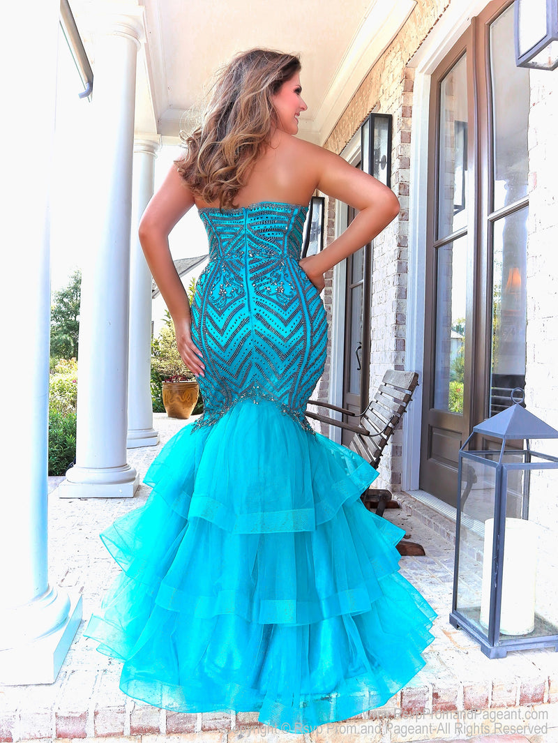 Teal Mermaid Prom Dress with Gunmetal Details