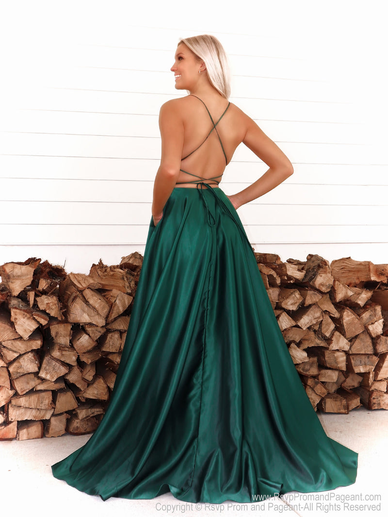 Back of Model in a simple and elegant A-line dress which will definitely make heads turn walking through the door! And it's at Rsvp Prom and Pageant, your source for the HOTTEST Prom and Pageant Dresses and exclusive evening gowns and located in Atlanta, Georgia!