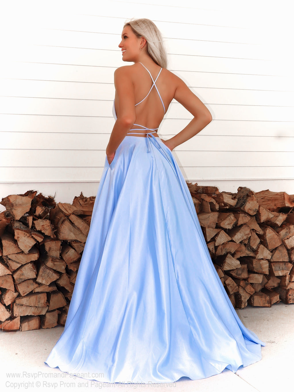 Back of Pretty model in this simple and elegant A-line dress which will definitely make heads turn as you walk  through the door! And it's at Rsvp Prom and Pageant, your source for the HOTTEST Prom and Pageant Dresses and exclusive evening gowns and located in Atlanta, Georgia!