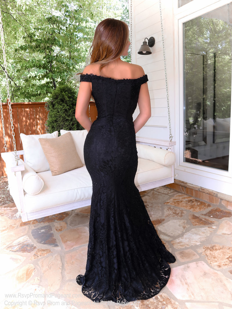Black Lace Off The Shoulder Fit and Flair Evening Gown