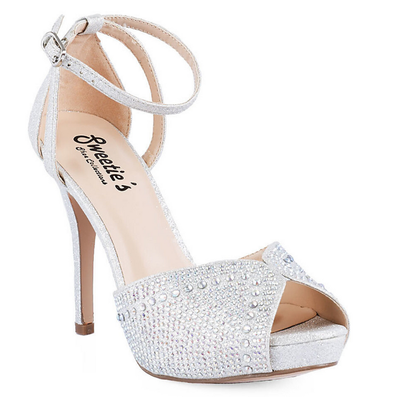 Silver Sparkly High Heel With AB Rhinestones