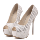 Silver/White Platform Peep Toe Pumps / Rsvp Prom and Pageant, Atlanta, GA / Best Prom Store in Atlanta / #Promheaven