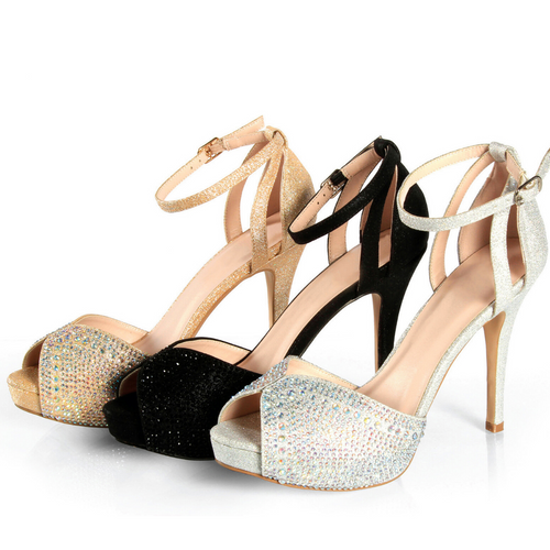 Black Sparkly High Heel With Rhinestones