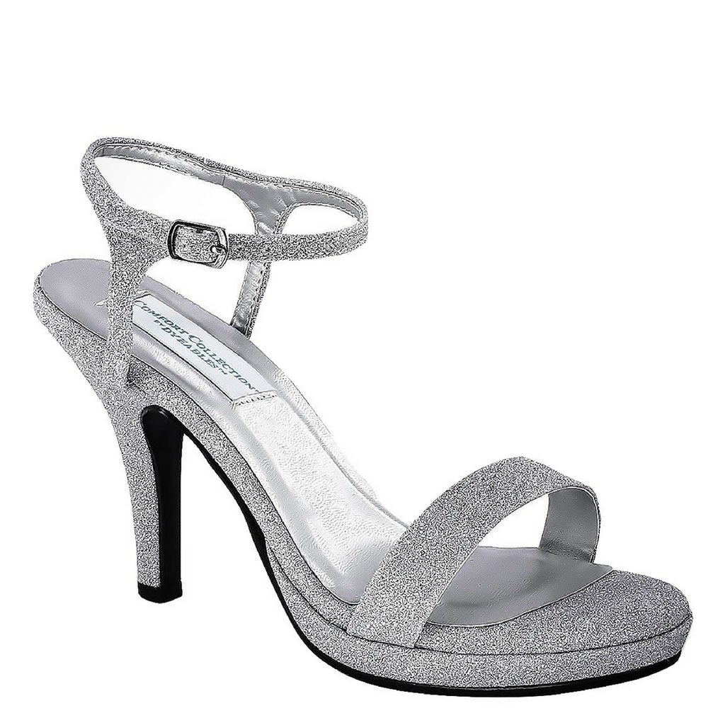 Silver Glitter Strappy Shoe with Medium Heel / Rsvp Prom and Pageant, Atlanta, GA / Best Prom Store in Atlanta / #Promheaven