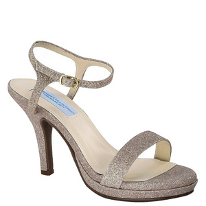 Nude Glitter Strappy Shoe with Medium Heel / Rsvp Prom and Pageant, Atlanta, GA / Best Prom Store in Atlanta / #Promheaven
