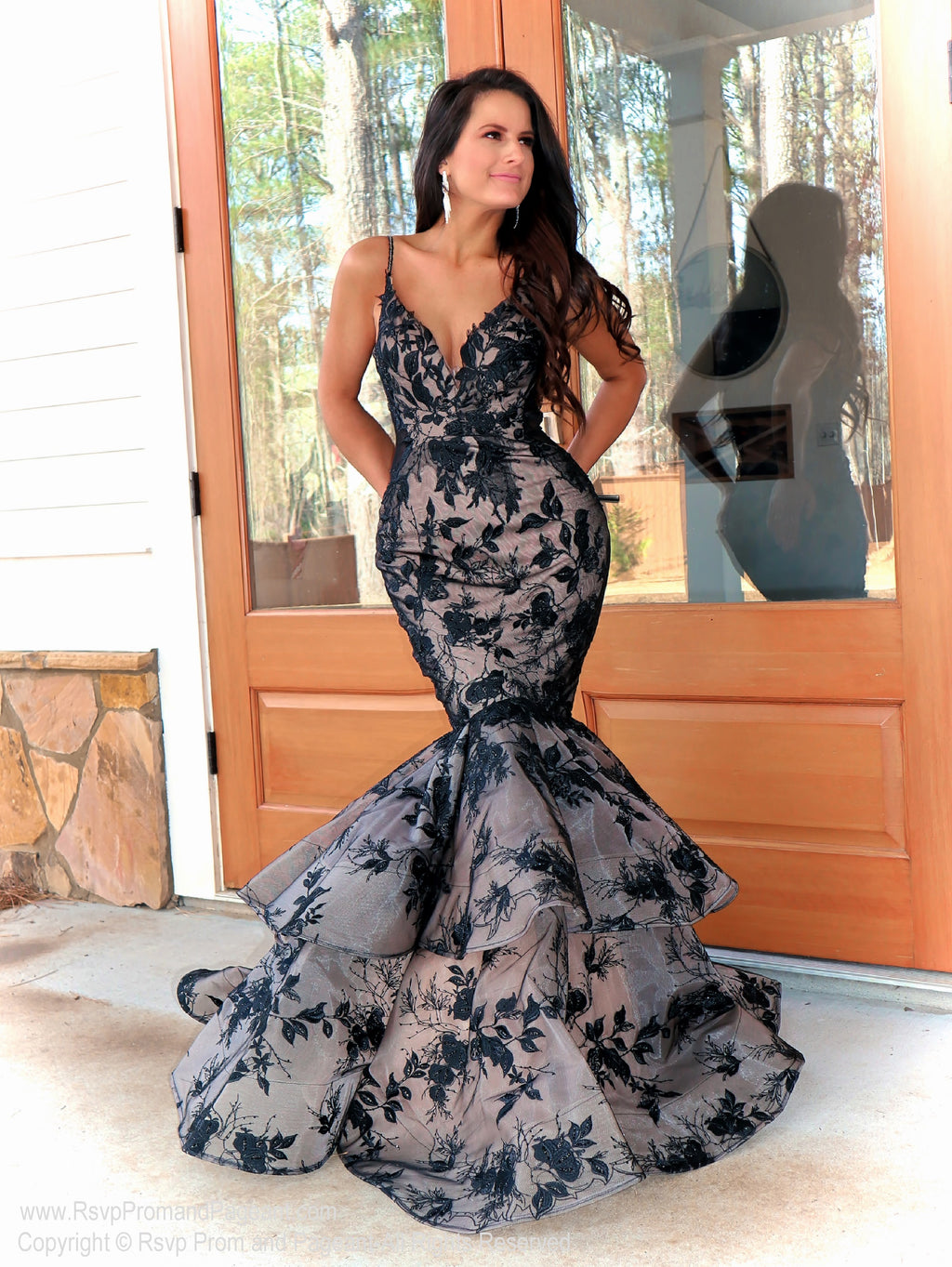 Talk about sophistication! This model is looking absolutely STUNNING in this couture gown featuring beautiful black lace applique over nude! And it's at Rsvp Prom and Pageant, your source for the HOTTEST Prom and Pageant Dresses and Exclusive Evening Gowns and located in Atlanta, Georgia!