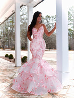 Pretty Model looking absolutely STUNNING in this couture gown featuring beautiful light pink lace applique! And it's at Rsvp Prom and Pageant, your source for the HOTTEST Prom and Pageant Dresses and Exclusive Evening Gowns and located in Atlanta, Georgia!