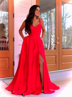 Model in this stunning sweetheart satin Ball Gown complete with a high slit and pockets! And its at RSVP Prom and Pageant, your source for the HOTTEST Prom and Pageant Dresses and Exclusive Evening Gowns and located in Atlanta, Georgia!