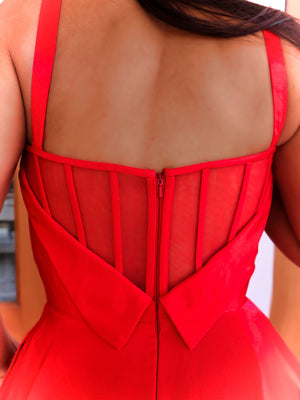 Closeup of back of in this stunning sweetheart satin Ball Gown complete with a high slit and pockets! And its at RSVP Prom and Pageant, your source for the HOTTEST Prom and Pageant Dresses and Exclusive Evening Gowns and located in Atlanta, Georgia!