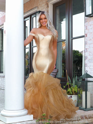 Model lacking nothing in style in this gold off-the-shoulder evening gown with a super sophisticated mermaid silhouette! Perfect for ALL sizes up to size 22!! And it's at Rsvp Prom and Pageant, your source for the HOTTEST Prom and Pageant Dresses and exclusive evening gowns and located in Atlanta, Georgia!