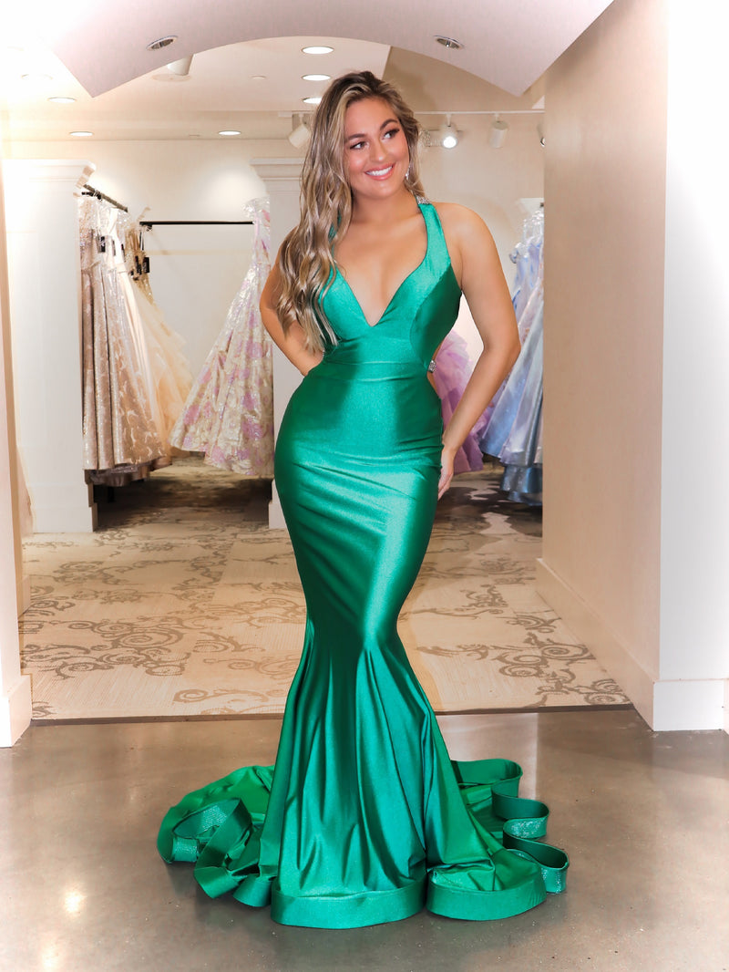 Can you say WOW!! This beautiful fit and flare prom dress with its sexy open back and sparkling beaded straps is PERFECT for Prom! And it's at Rsvp Prom and Pageant, your source for the HOTTEST Prom and Pageant Dresses and Exclusive Evening Gowns and located in Atlanta, Georgia!