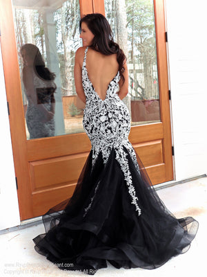 Back of Model in a black ombre mermaid dress with a V neckline!!  And it's at Rsvp Prom and Pageant, your source for the HOTTEST Prom and Pageant Dresses and Exclusive Evening Gowns and located in Atlanta, Georgia!