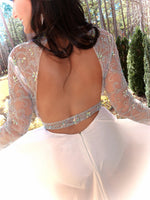 Ivory Beaded Bodysuit With Skirt Overlay and Sleeves Gown