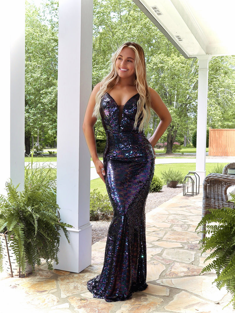 Iridescent Black Fully Sequined V-Neckline Prom Dress