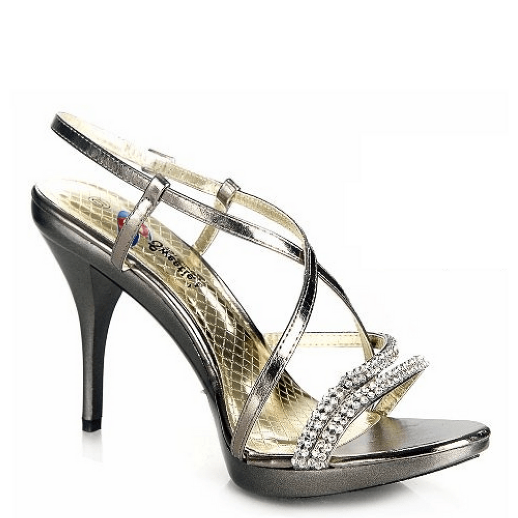 1b21bc00c Elegant Pewter High Heel with Rhinestone Strap – Rsvp Prom and Pageant