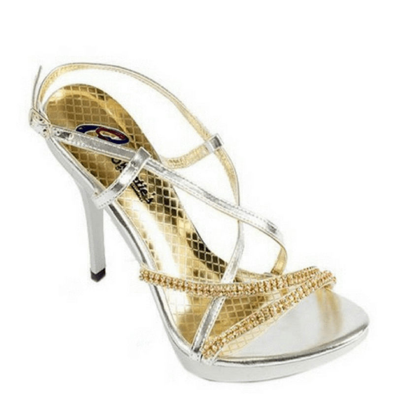 Elegant Gold High Heel with Rhinestone Strap / Rsvp Prom and Pageant, Atlanta, GA / Best Prom Store in Atlanta / #Promheaven