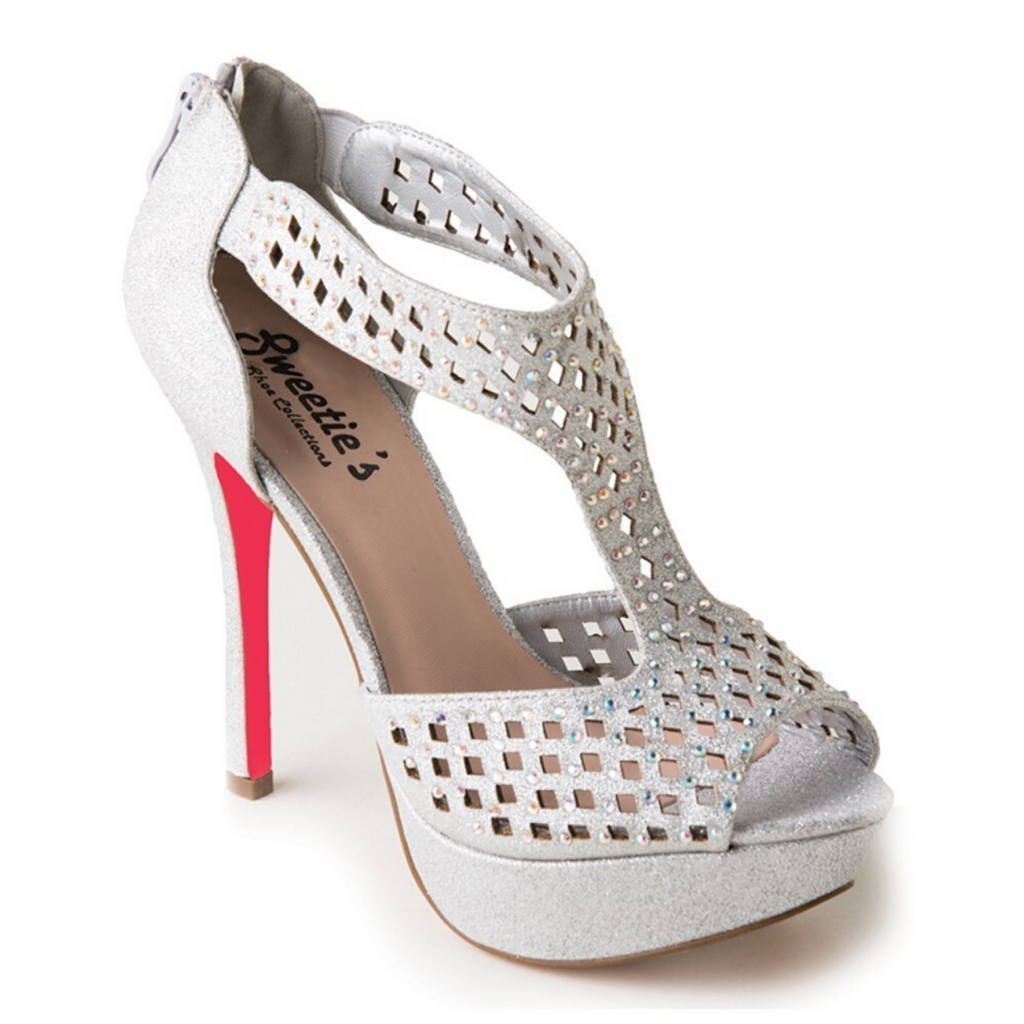 Silver High Heel With AB Rhinestones