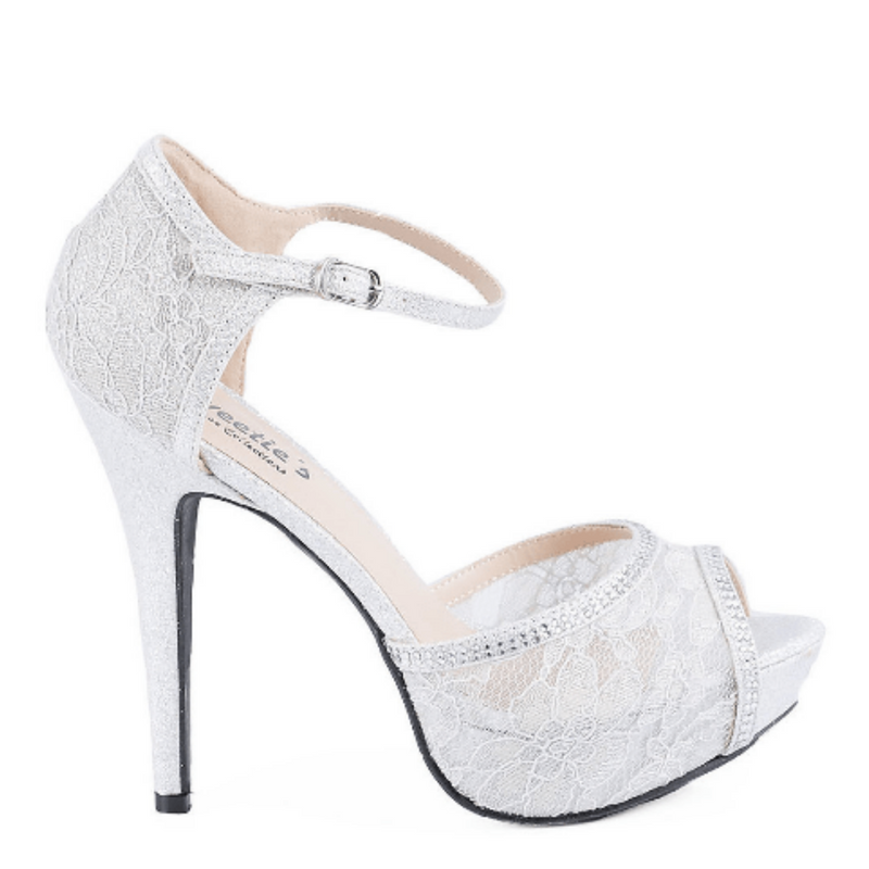 Silver Lace Sparkly High Heel