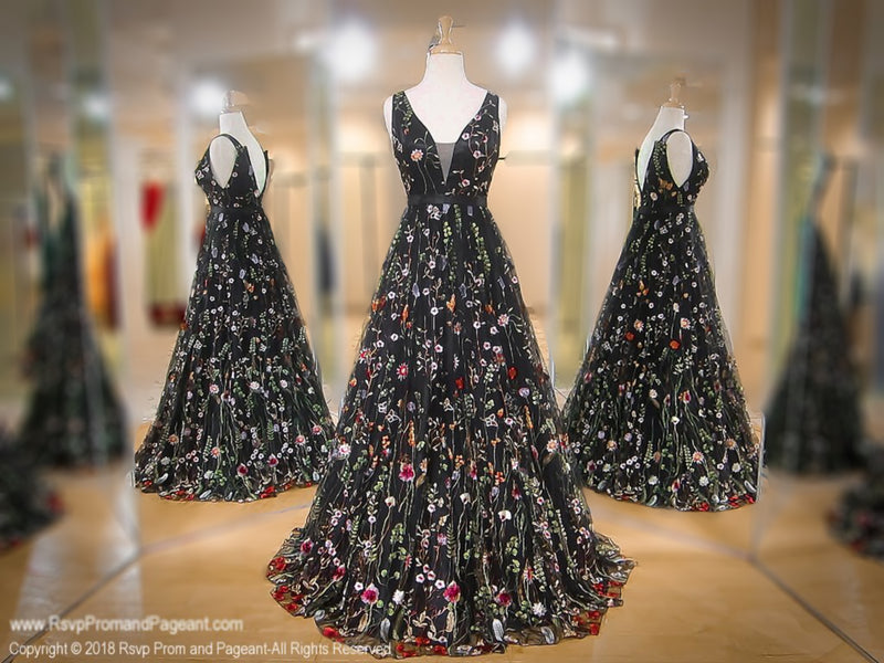 Black/Multi Floral V-Neck Ball Gown / Rsvp Prom and Pageant, Atlanta, GA / Best Prom Store in Atlanta / #Promheaven