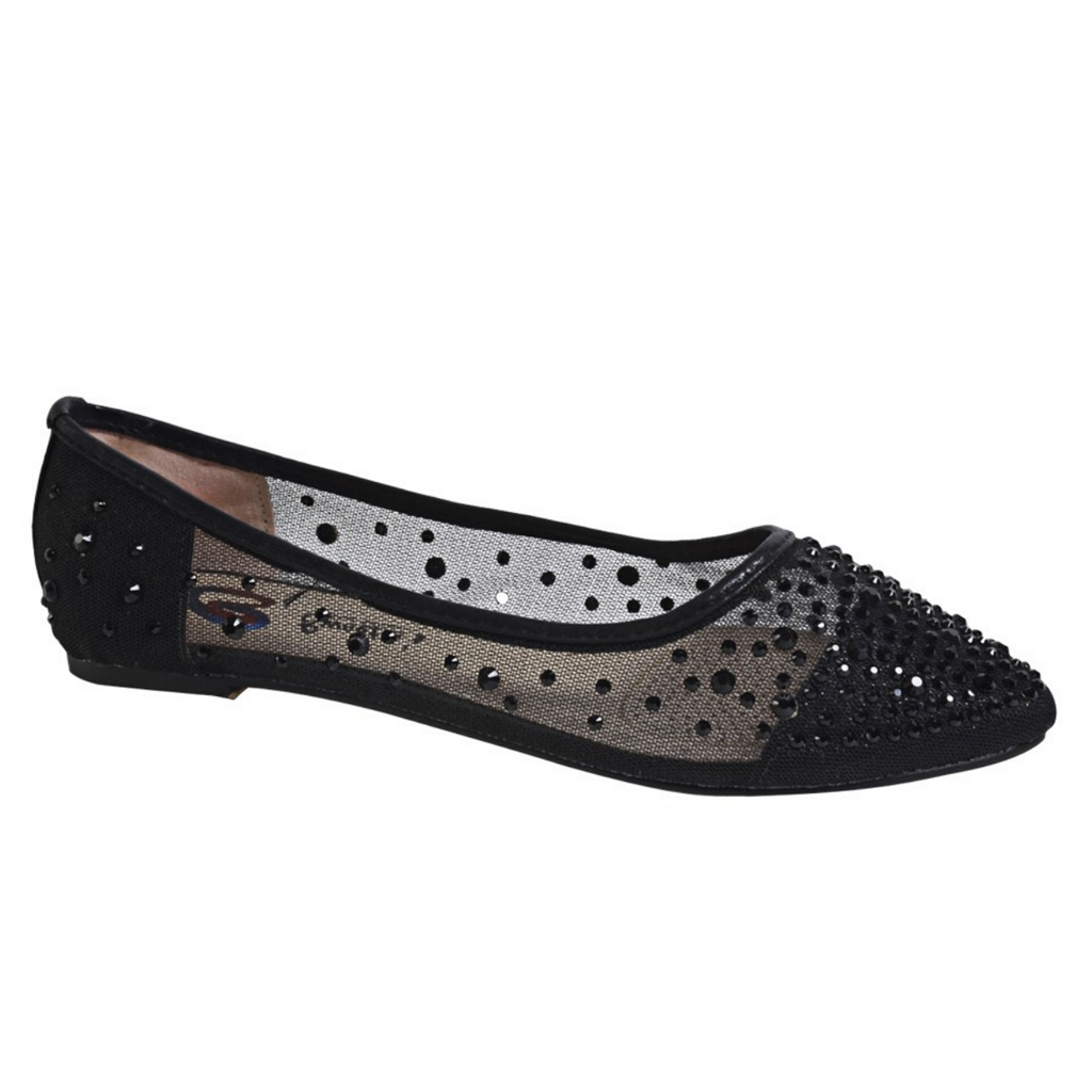 Black Flat With Rhinestones