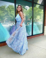 Powder Blue V Neck Ball Gown Prom Dress