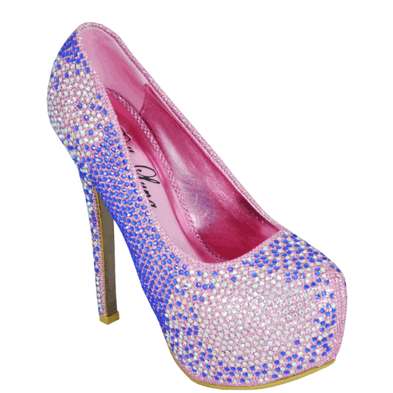 Blue/Pink Rhinestone Covered Platform Pumps / Rsvp Prom and Pageant, Atlanta, GA / Best Prom Store in Atlanta / #Promheaven